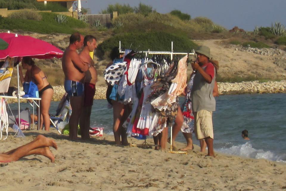 Beach vendors in Italy