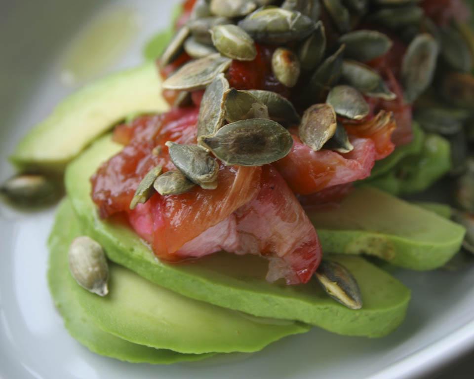 Avocado rhubarb salad