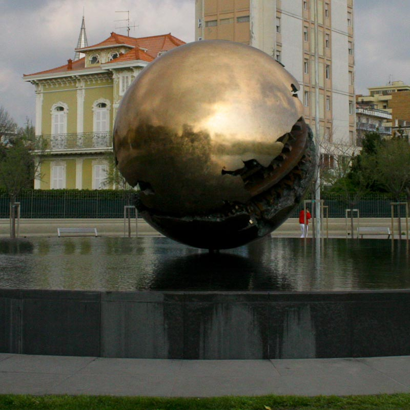 Photo of the Golden Sphere Monument in Pesaro