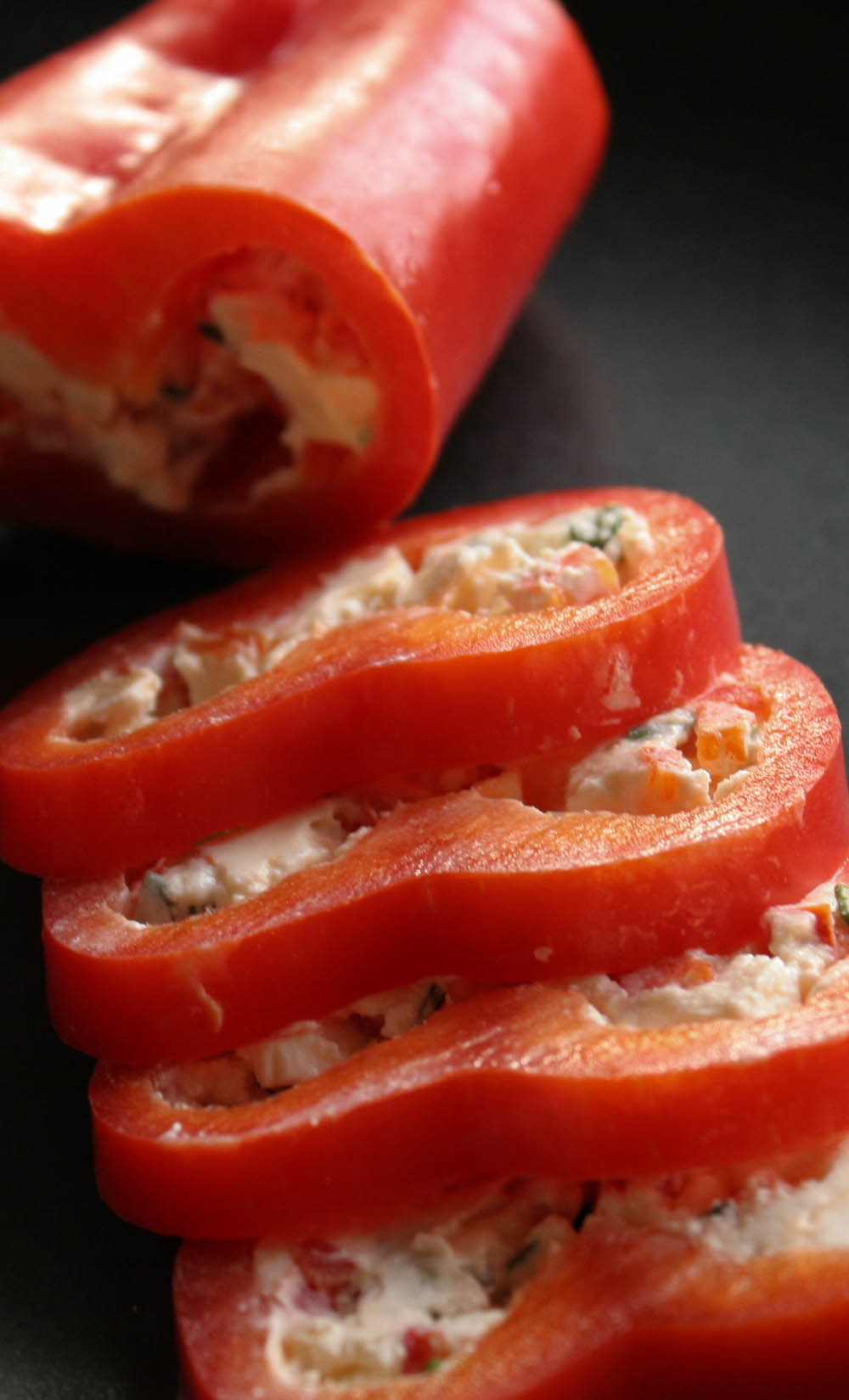 Stuffed raw peppers with cream cheese filling