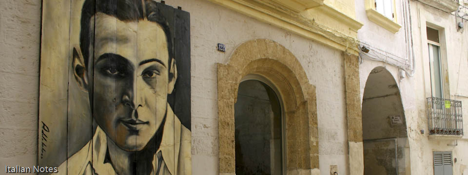 Painting of Valentino on a wall in Castellaneta in Puglia