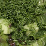 Mixed green salad with asparagus, rocket and dill