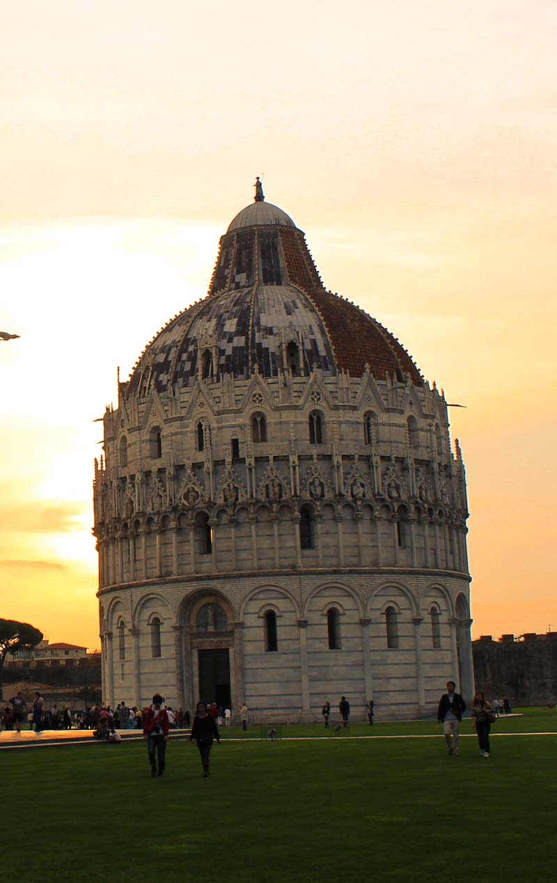 The baptistery on Piazza dei Miracoli in Pisa