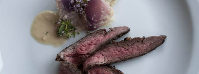 Flank steak with loads of onions