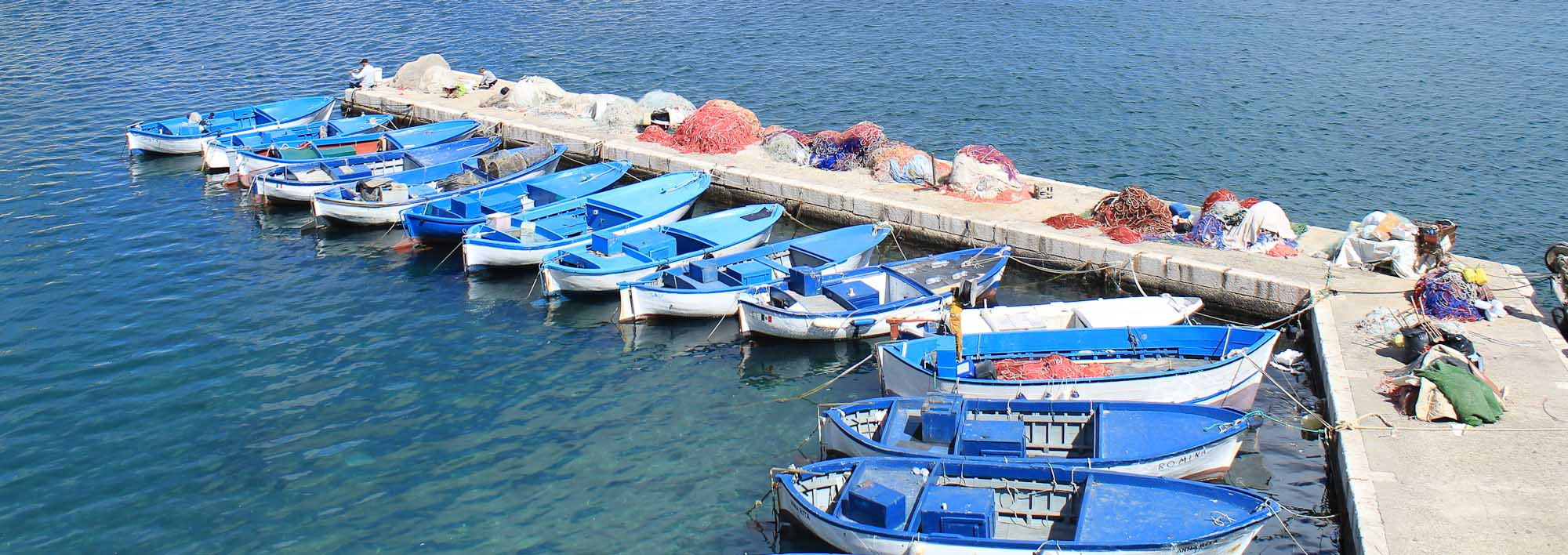 Mediterranean blue boats - Italian Notes