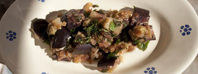 Aubergine and onions