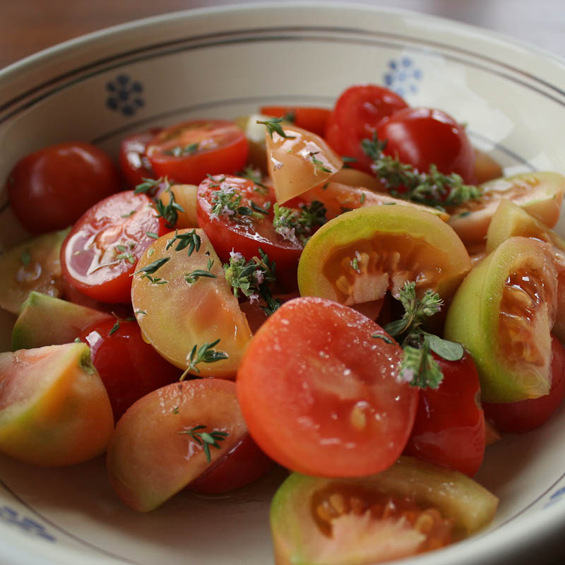 Photo of Multicoloured tomato salad