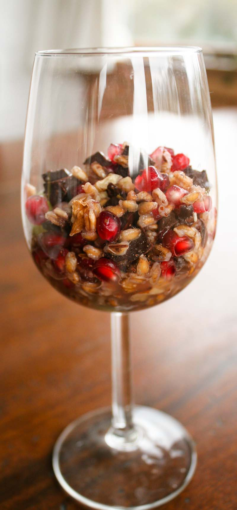 Grano dolce - A dessert of sweet wheat, chocolate, grapes and pomegranate