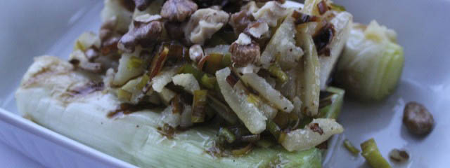 Photo of Roasted leeks with lemon peel and walnuts
