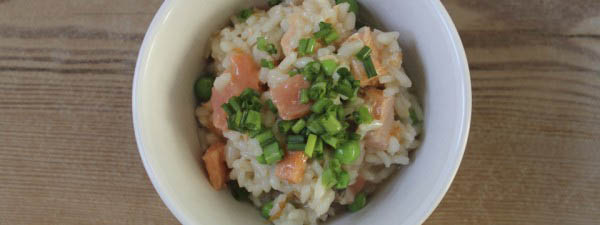 Risotto with smoked salmon and peas