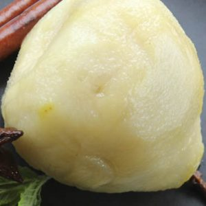 Pears poached in white wine