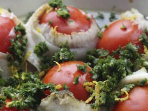 Baked fish with tomatoes and gremolata