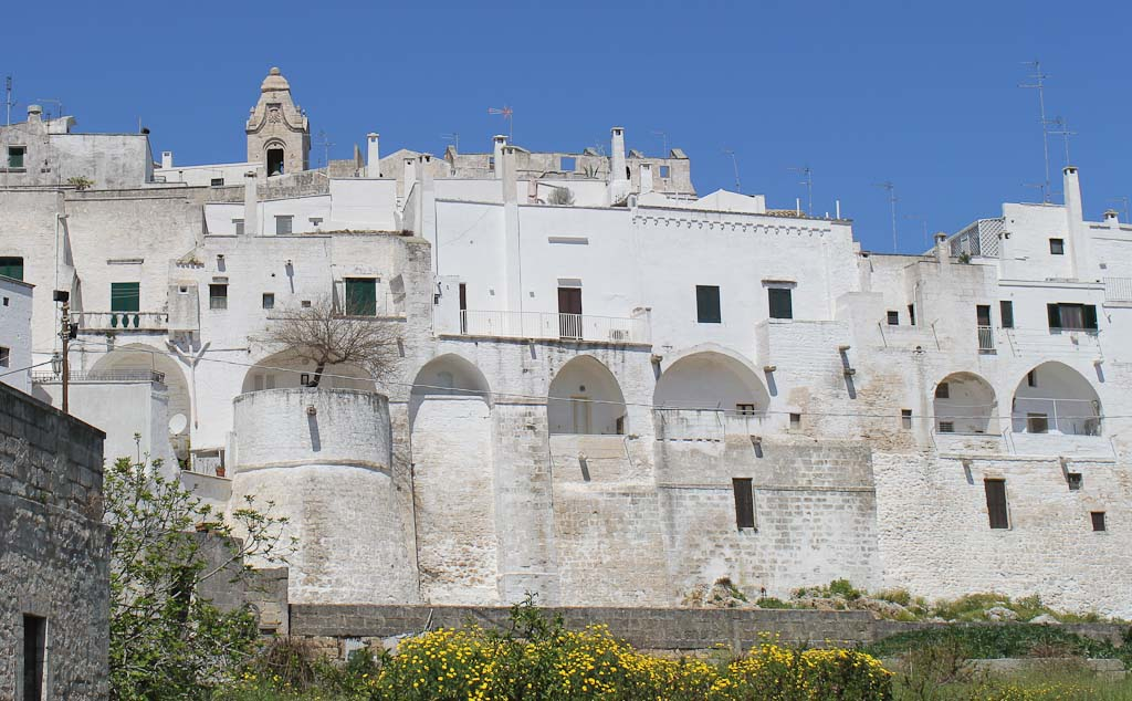 The white city Ostuni seen from the coast