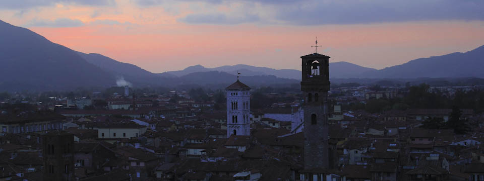Sunset over Lucca in Tuscany
