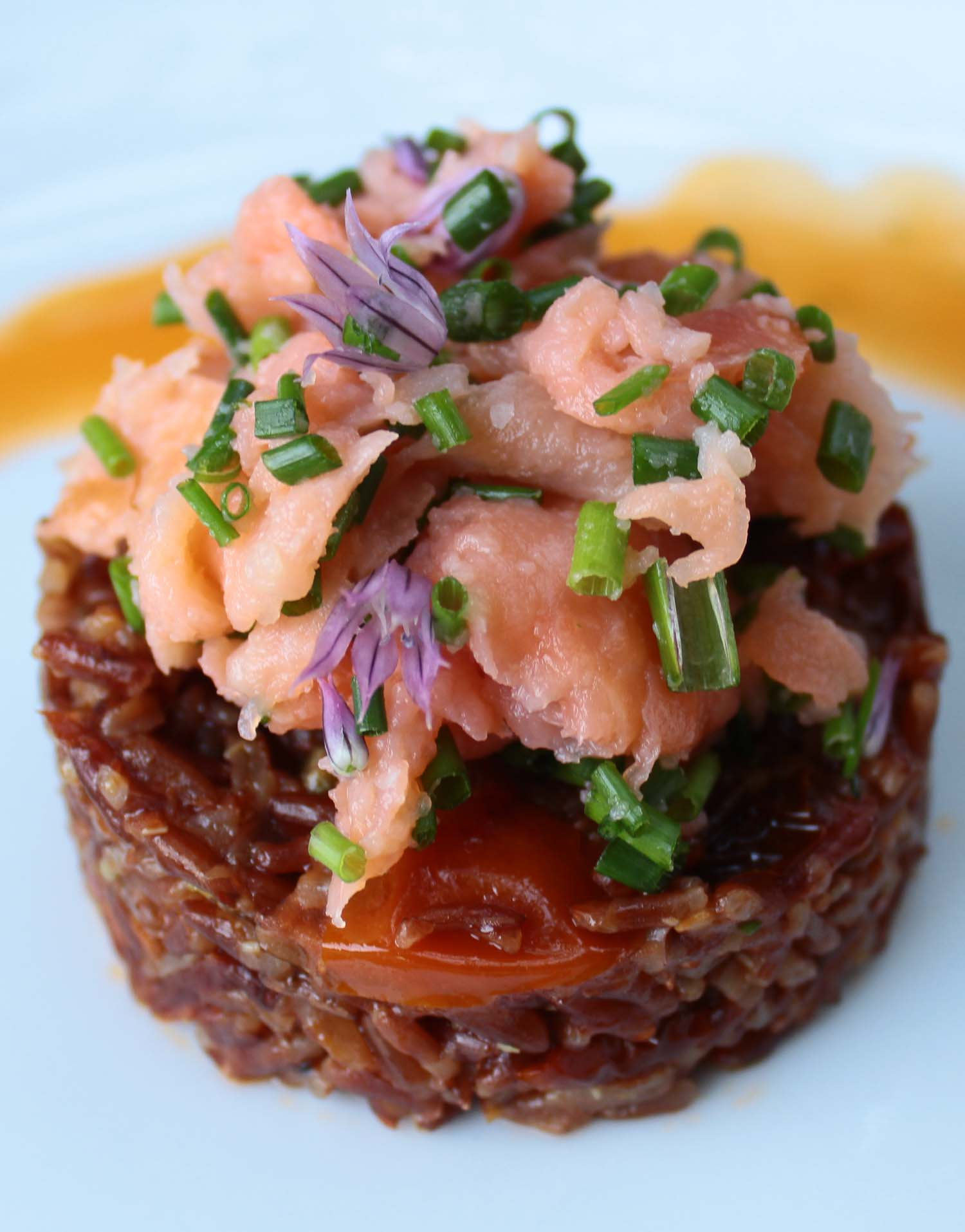 Red rice with smoked salmon