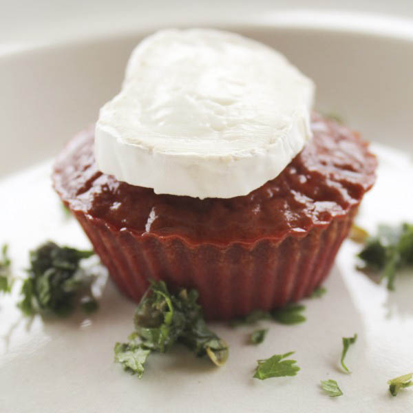 Beet flan with goat cheese