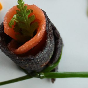 Black rice pancakes with smoked salmon