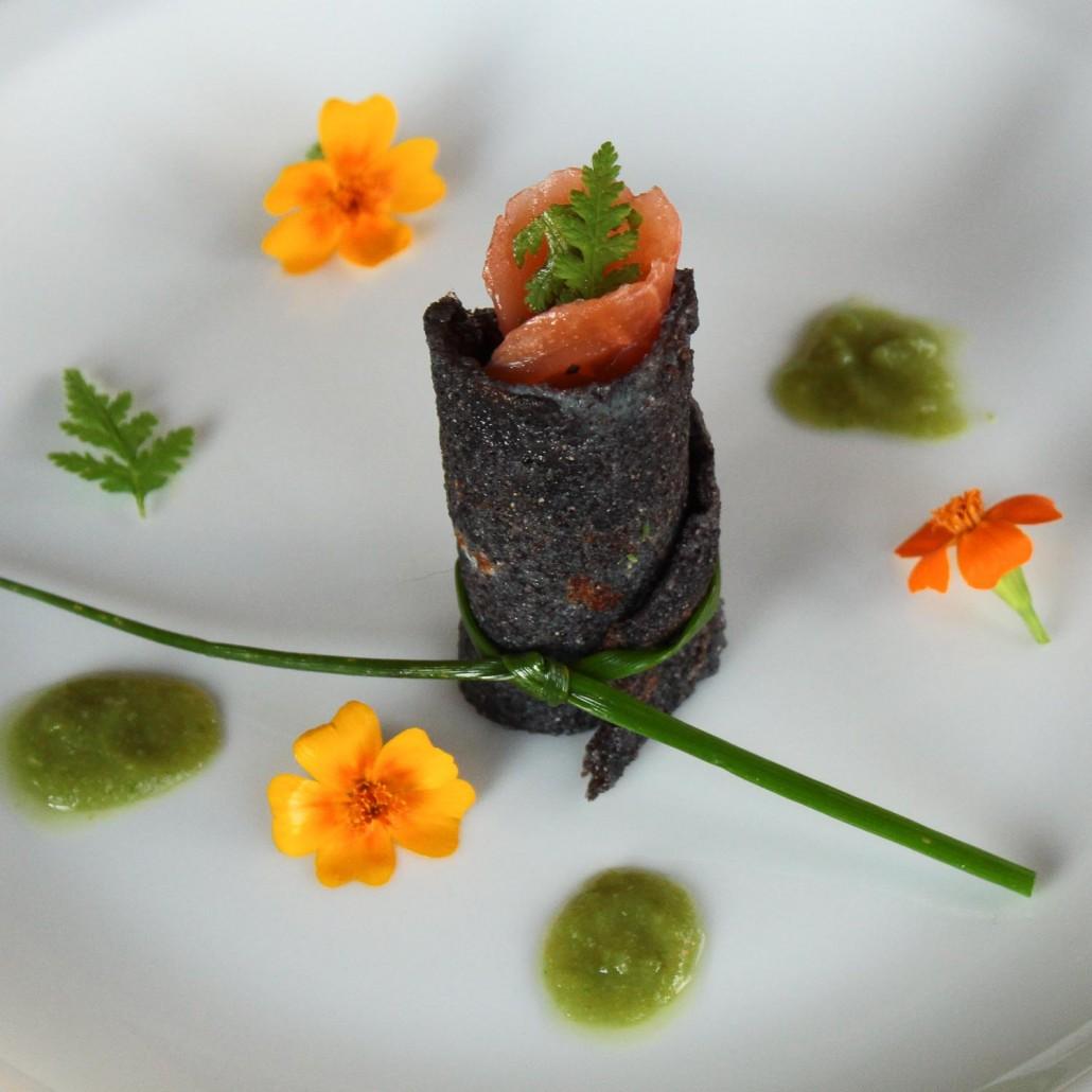Black rice pancakes with smoked salmon