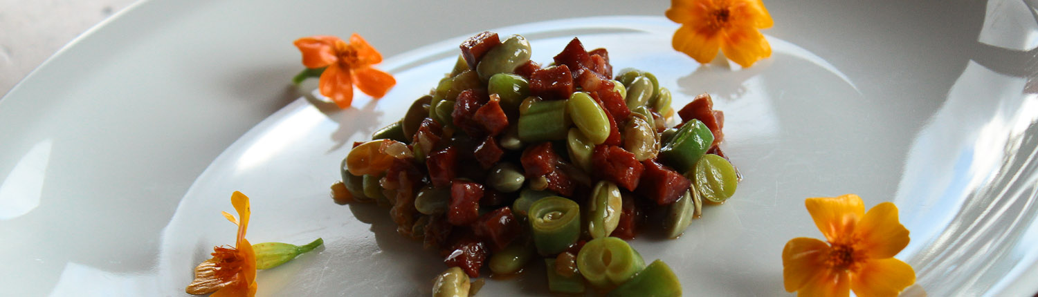 Salad of fava beans, green beans and pancetta