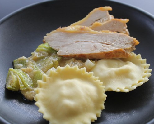 Breast of guineafowl with leeks