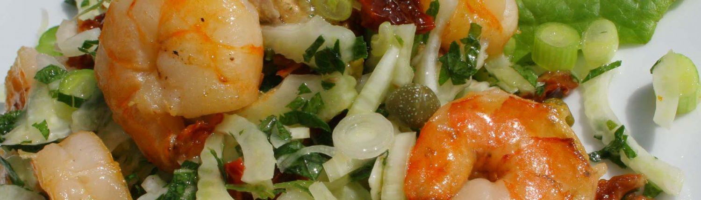 Italian antipasti with prawns