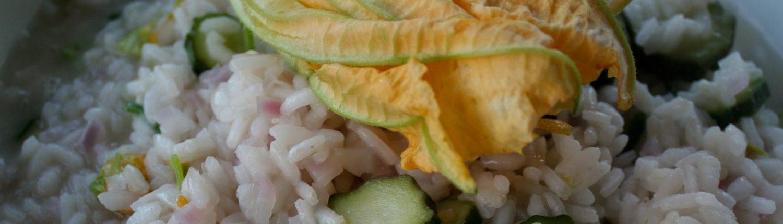 Primo piatto of risotto with zucchini