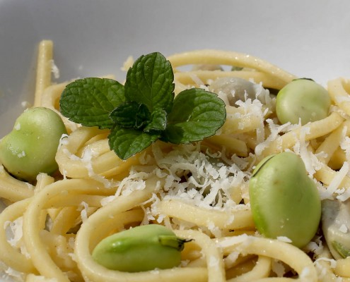 Linguine with fresh fava beans