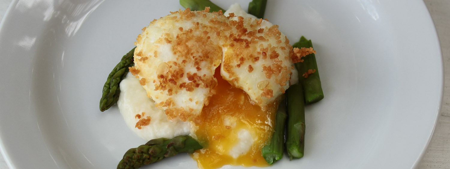 Asparagus with soft boiled egg in bread crumbs