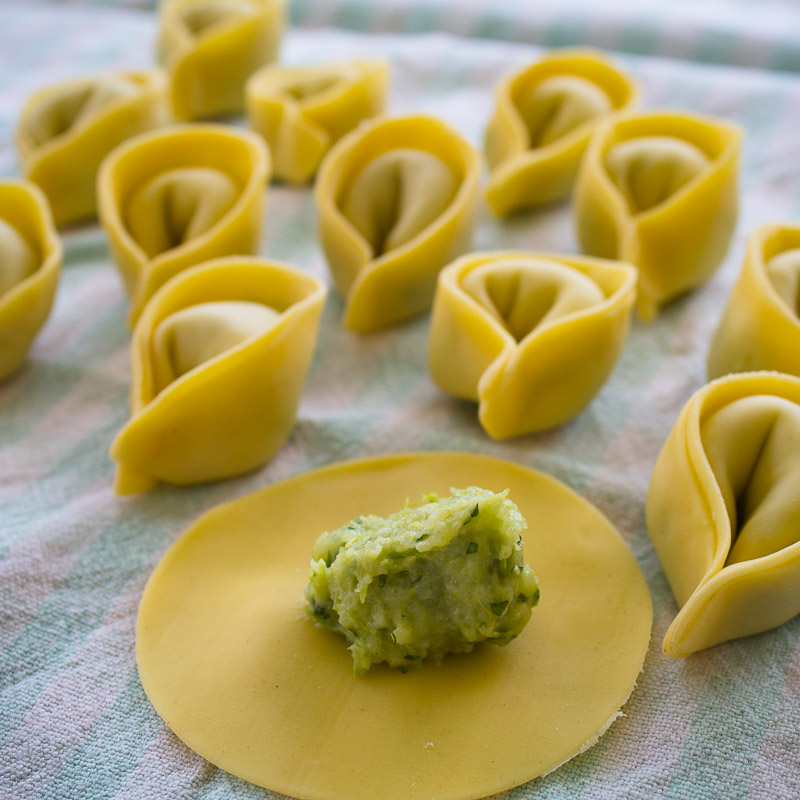 Asparagus Cappelletti with Cheese Sauce