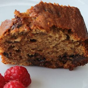 Banana cake with coffee, chocolate and walnuts