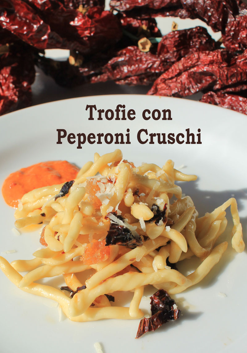 Trofie pasta with dried peppers