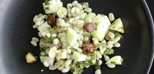 Barley salad with apples, kohlrabi and hazelnuts