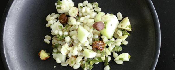 Barley salad with apples, kohlrabi and hazelnuts