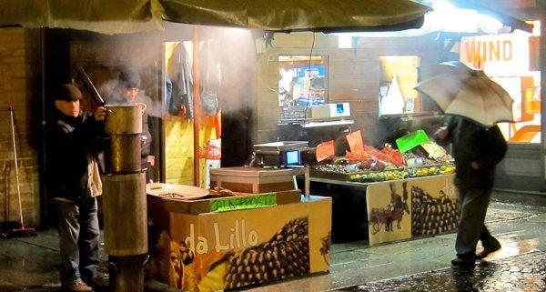 Roasted chestnut vendor Asti