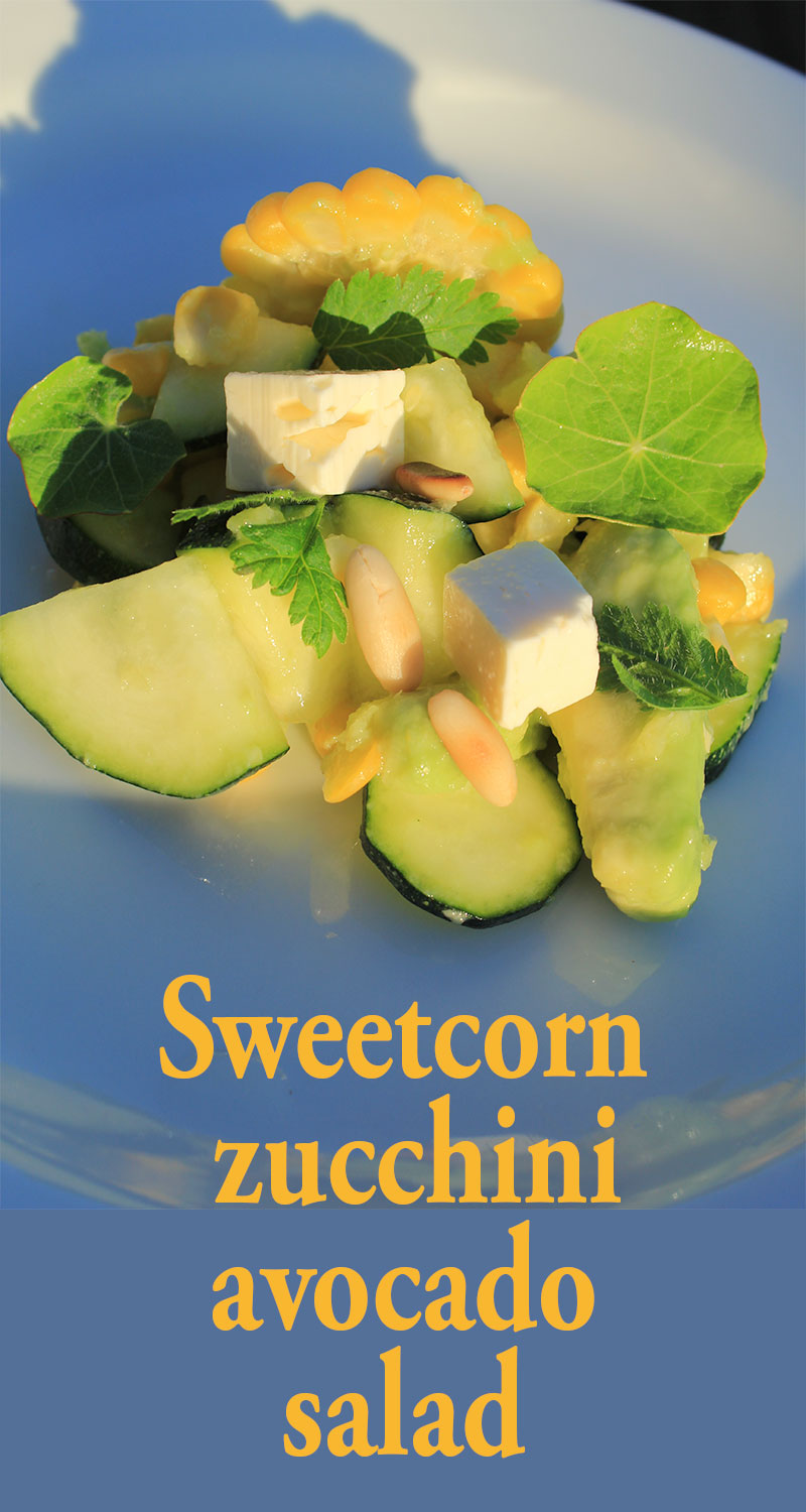 Sweetcorn, zucchini, avocado salad