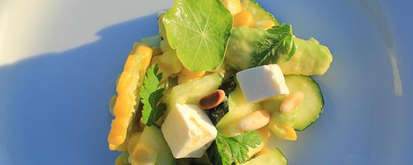 Sweetcorn, zucchini, avocado salad