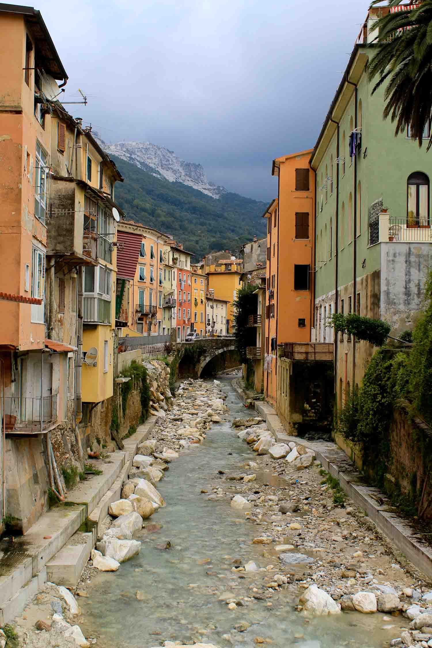 Carrione river in Carrara
