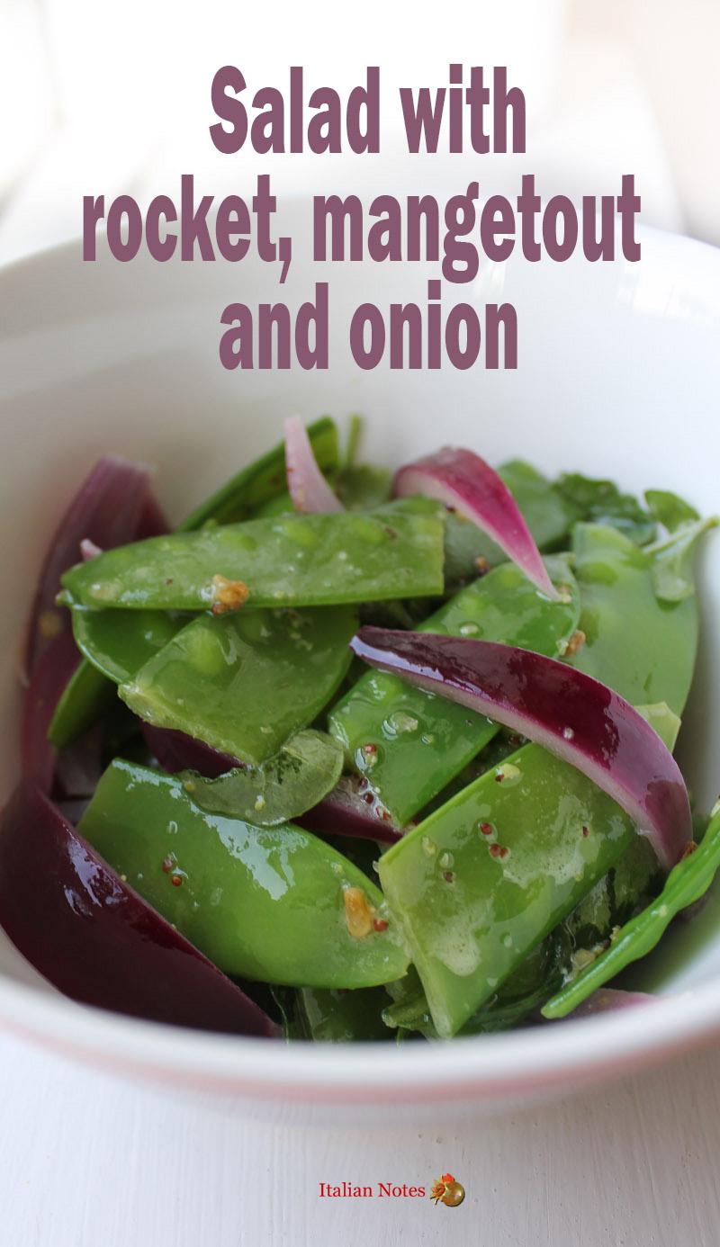 Rocket, mangetout and onion salad