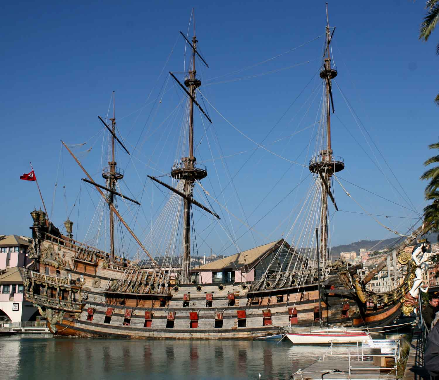 Galleon in the harbour of Genoa