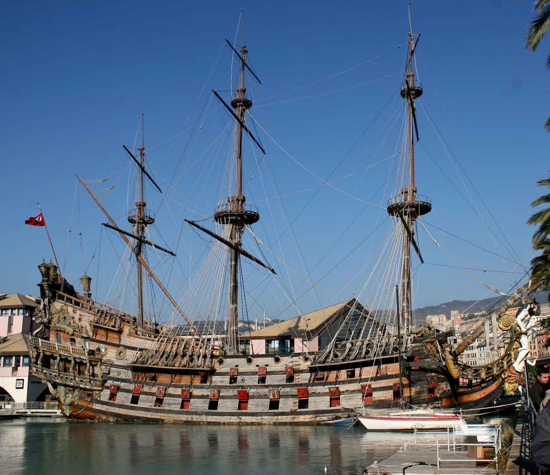 Galleon in the harbour of Genoa
