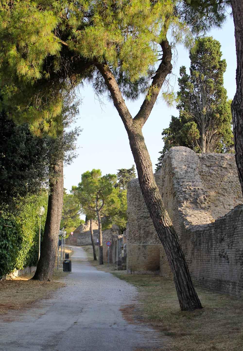 Roman wall Fano in Le Marche -Italian Notes