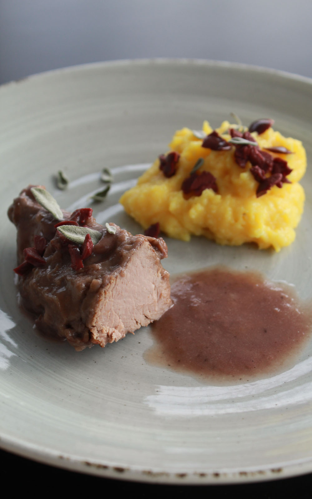 Lamb Tenderloin with Polenta and Taleggio